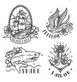 nautical vintage emblems vector image vector image