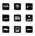 Parking transport icons set grunge style vector image vector image