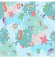 pattern sea life on blue background vector image vector image