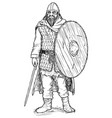 pen and ink of viking warrior with sword and vector image