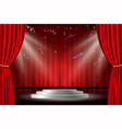 red curtain with white stage and confetti vector image vector image
