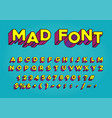 retro but modern colorful font alphabet numbers vector image