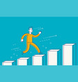 running businessman on successful diagram vector image vector image