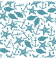 seamless pattern with anchors fish and starfish vector image