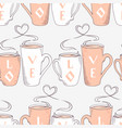 seamless pattern with two cups and heart shaped vector image vector image