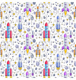 seamless space background with rockets and stars vector image vector image