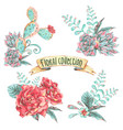set bouquet with blooming flowers vector image