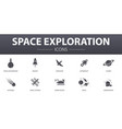 space exploration simple concept icons set vector image