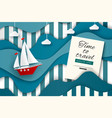 time to travel sailboat in stylized sea vector image