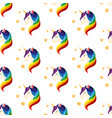 unicorn with closed eyes rainbow mane seamless vector image vector image