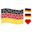 waving german flag mosaic of valentine heart items vector image