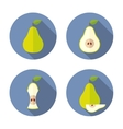 Whole and cut pears Flat Icon vector image vector image