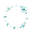 winter frame with blue flowers and stars vector image