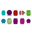 wood barrel icon set color outline style vector image
