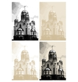 background with church at engraving style vector image