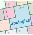 keyboard keys with enter button apologize word on vector image