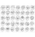 set of cartoon male boy faces vector image