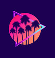 80s retro sci-fi palm trees on a sunset retro vector image vector image