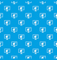 bomb on computer monitor pattern seamless blue vector image vector image