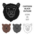 brown bear muzzle icon in cartoon style isolated vector image vector image