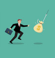 businessman try to pick money bag from hook trap vector image vector image