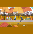 businesspeople walking through autumn park over vector image vector image