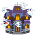 Cartoon scary Halloween house with funny ghosts vector image vector image