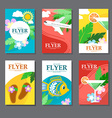 Collection of brightly colored rectangular card on vector image vector image