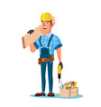 construction worker building timber frame vector image vector image