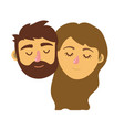 couple lover head with closed eyes and hairstyle vector image vector image