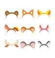 cute cartoon animal ears set vector image