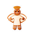 cute smiling gingerbread angel with white milk vector image vector image