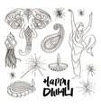 diwali icons set vector image