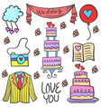 doodle of object wedding party vector image vector image
