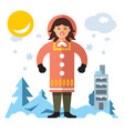 eskimo flat style colorful cartoon vector image vector image