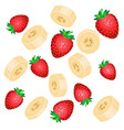 falling red strawberries and yellow banana slices vector image vector image