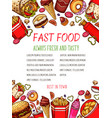 fast food sketch poster for restaurant vector image vector image