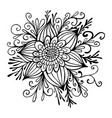 flower framed leaves and buds coloring page vector image vector image