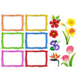 frame template with different kinds of flowers vector image
