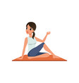 girl sitting in yoga spinal twist position vector image vector image