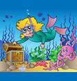 girl snorkel diver exploring sea vector image