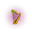 Golden harp and clover icon comics style vector image vector image