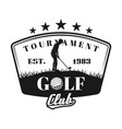 golf tournament shield emblem with golfer vector image vector image