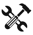 Hammer and screw wrench icon simple style vector image