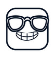 happy emoji with sunglasses kawaii character vector image vector image