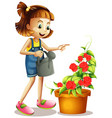 happy girl watering roses in garden vector image vector image