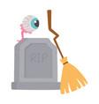 happy halloween eye broom and tombstone vector image vector image