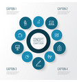 job icons line style set with work man billfold vector image vector image