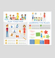 kindergarten class and students - colorful vector image