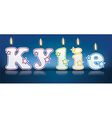 KYLIE written with burning candles vector image vector image